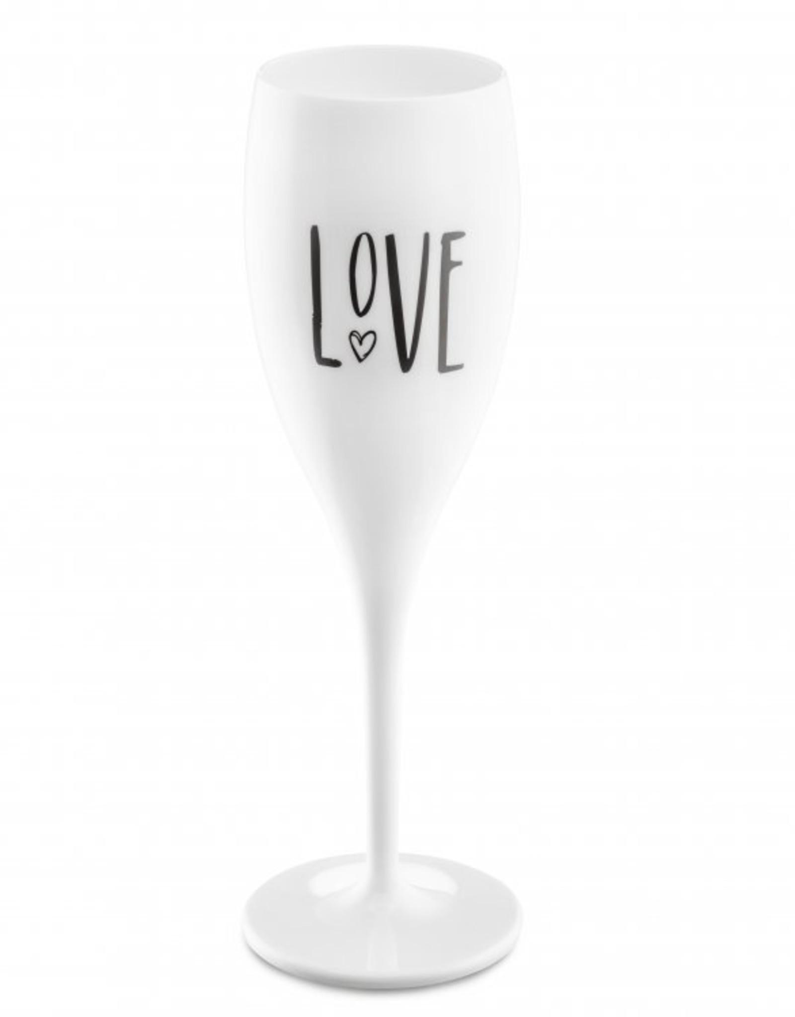 Koziol Koziol Champagneglas - Cheers No.1 Love - 100 ml - Cotton white - Set van 6