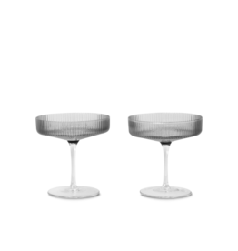 Ferm Living Ferm Living Ripple Champagneglas - Set van 2 - smoked grey