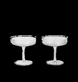 Ferm Living Ferm Living Ripple Champagneglas - Set van 2 - helder