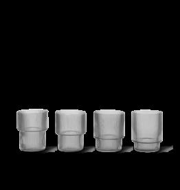 Ferm Living Ferm Living Ripple Glas - Set van 4 - smoked grey
