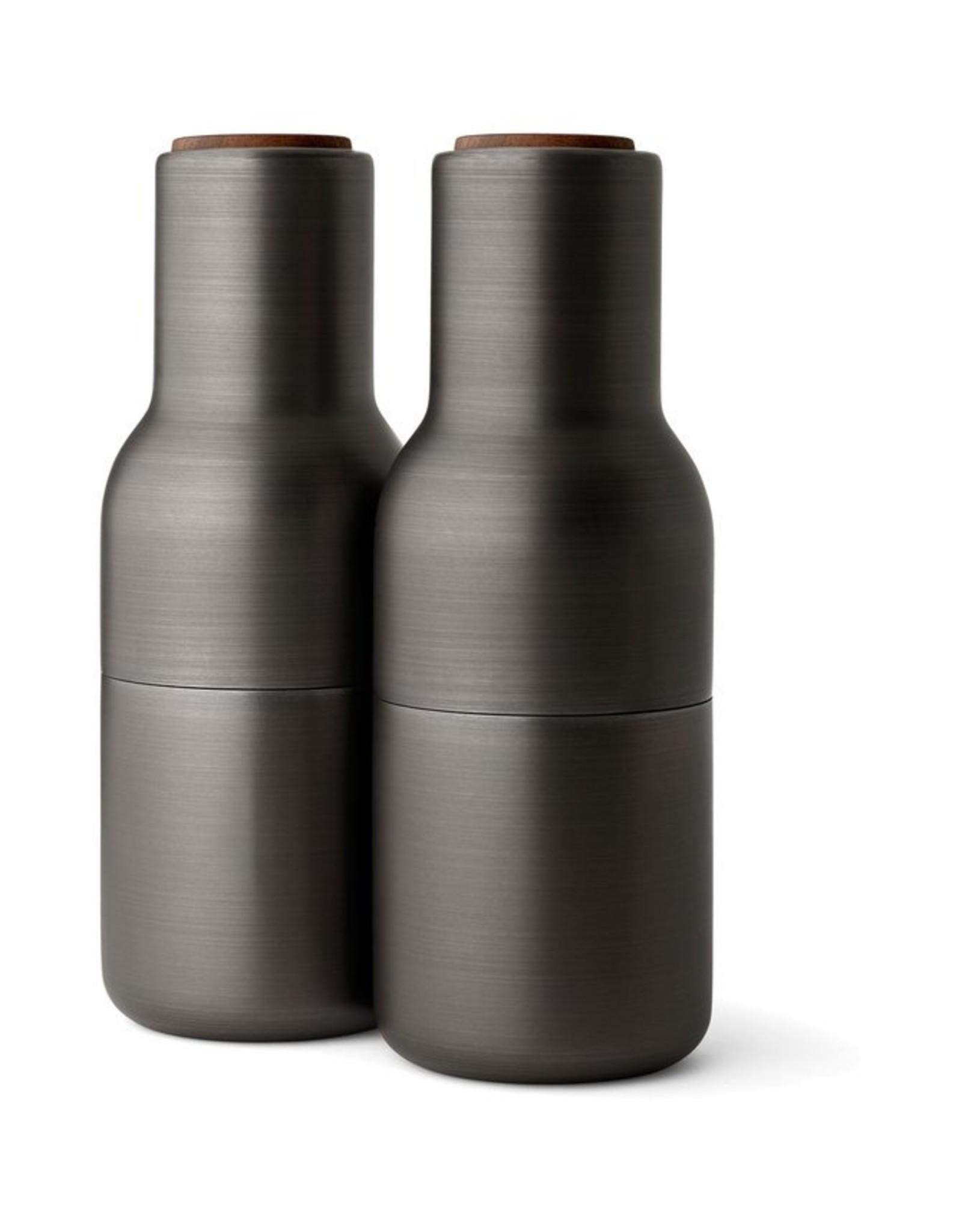 Menu - Bottle Grinder - Peper- en Zoutmolen - Zwart Messing -Set van 2