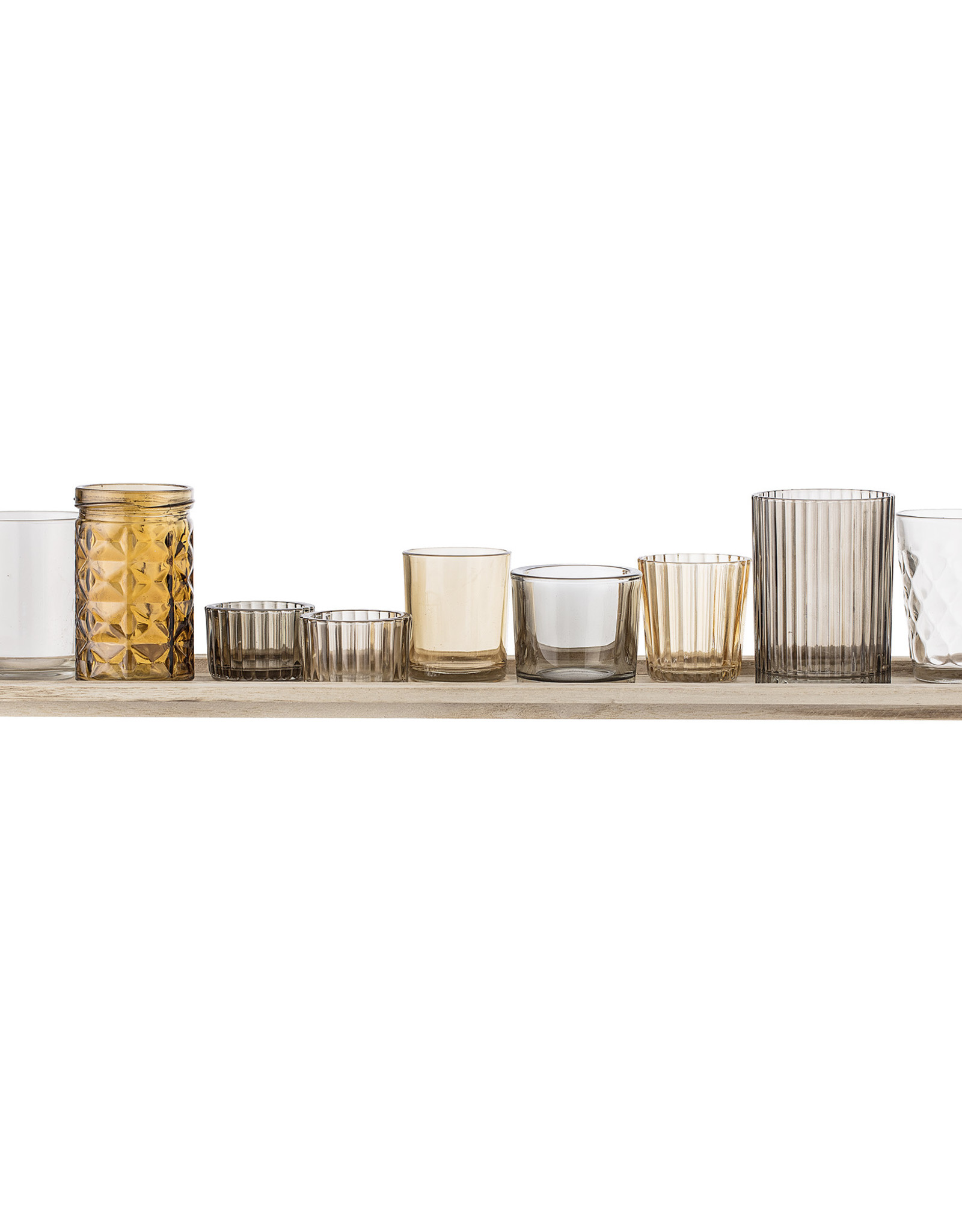 Bloomingville Bloomingville - Waxinelichtjes - Glas/Hout - Bruin - set van 10 - L56xH10xB14 cm