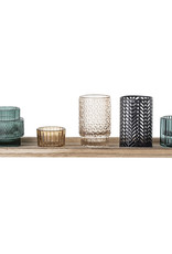 Bloomingville Bloomingville - Waxinelichtjes - Glas/Hout - Blauw - set van 6 - L43xH10,5xB12,5 cm