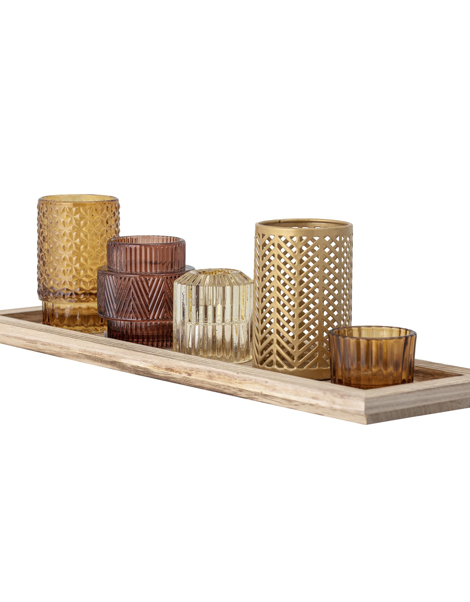 Bloomingville Bloomingville - Waxinelichtjes - Glas/Hout - Bruin - set van 6 - L43xH10,5xB12,5 cm