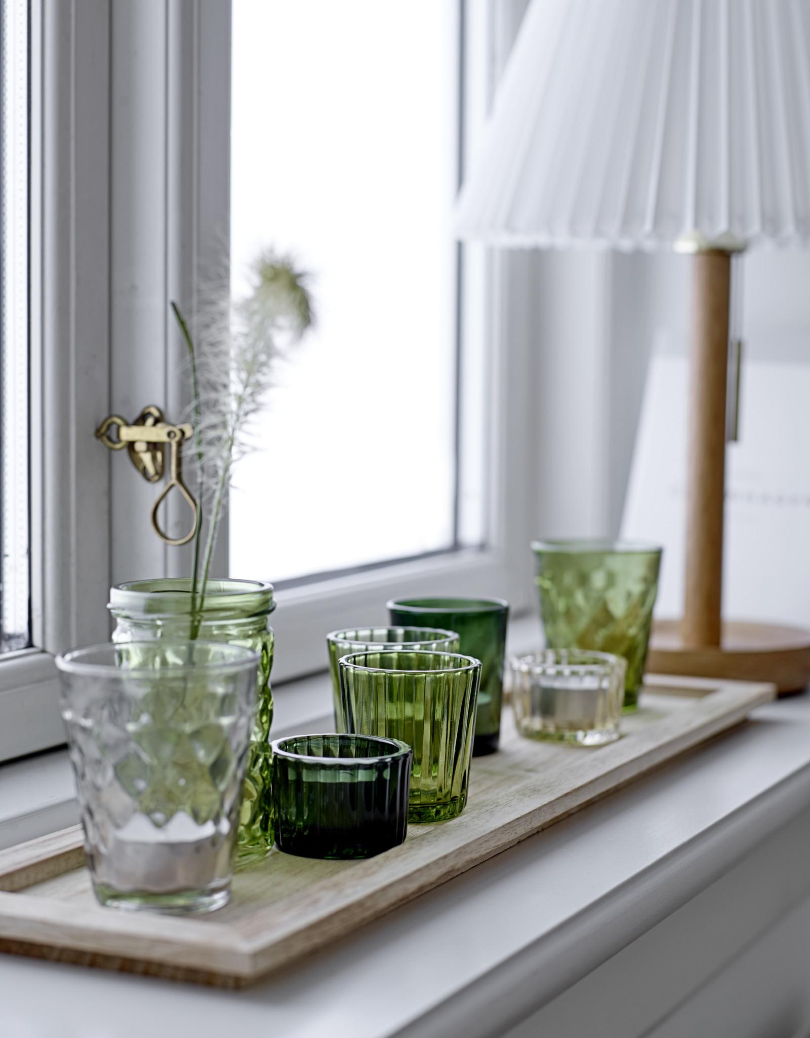 Bloomingville Bloomingville - Waxinelichtjes - Glas/Hout - Groen - set van 9 - L50xH11xB14 cm