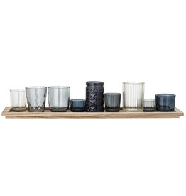 Bloomingville Bloomingville - Waxinelichtjes - Glas/Hout - Blauw - set van 10 - L56xH10xB14 cm
