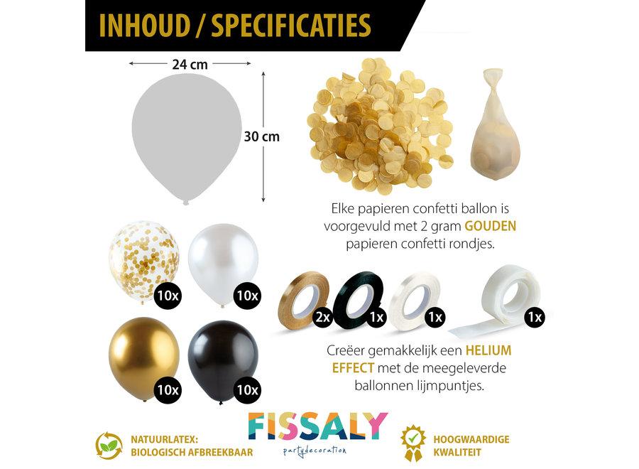Fissaly® 40 stuks Goud, Zwart,  Wit Helium Ballonnen met Lint