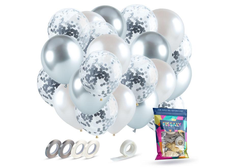 Zilver, Wit & Zilveren Confetti Ballonnen