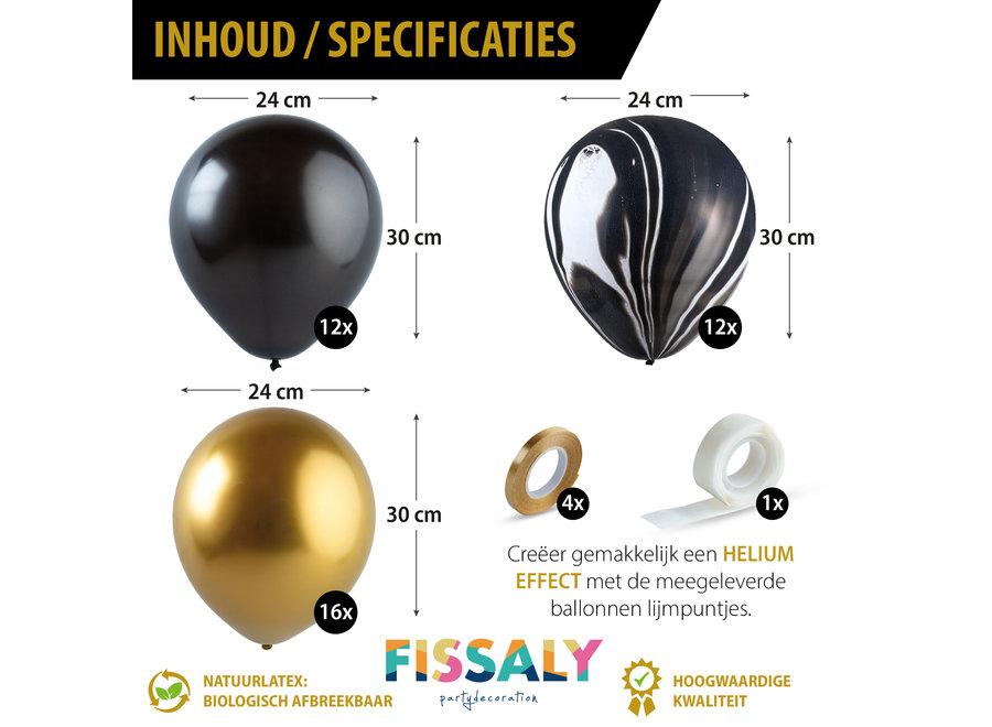 Fissaly® 40 stuks Metallic Chrome Goud, Zwart & Marmer Helium Ballonnen met Accessoires – Decoratie – Latex
