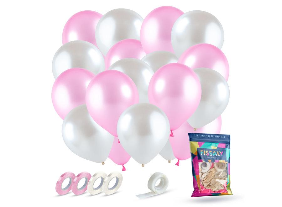 Roze & Wit Ballonnen