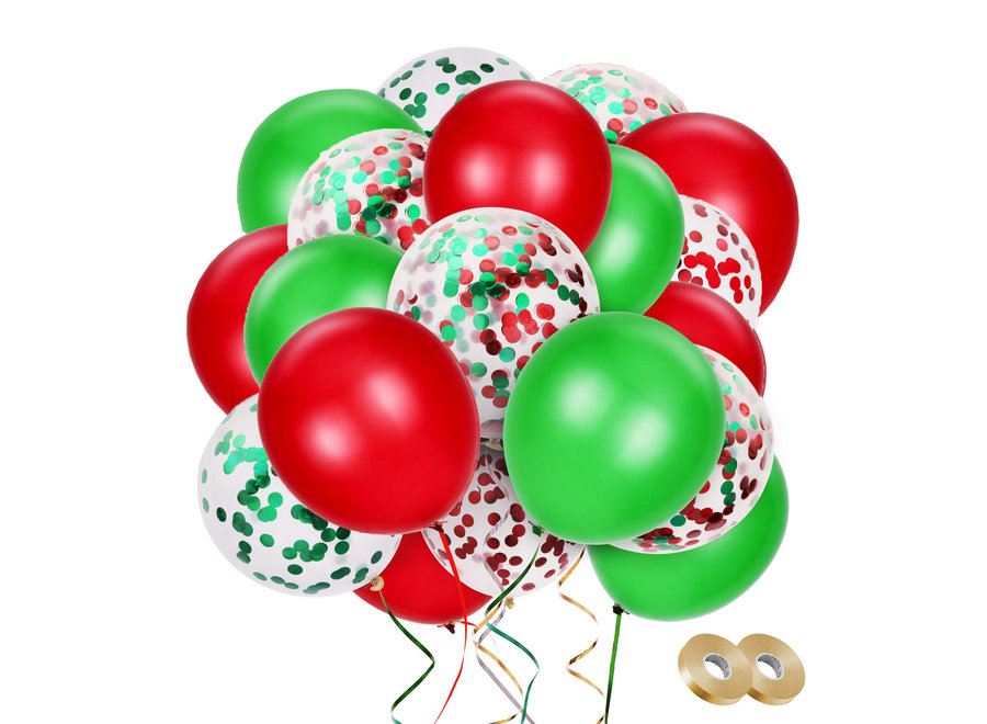 Fissaly® 40 stuks Groen & Rood Versiering Confetti Ballonnen Decoratie met Lint