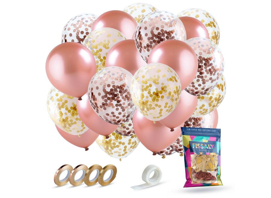 60 stuks Rose Goud Helium Ballonnen Set met Lint