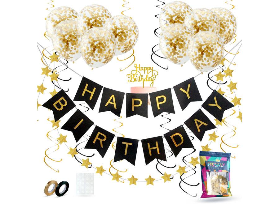 Fissaly® Verjaardag Slinger Zwart & Goud met Confetti Ballonnen