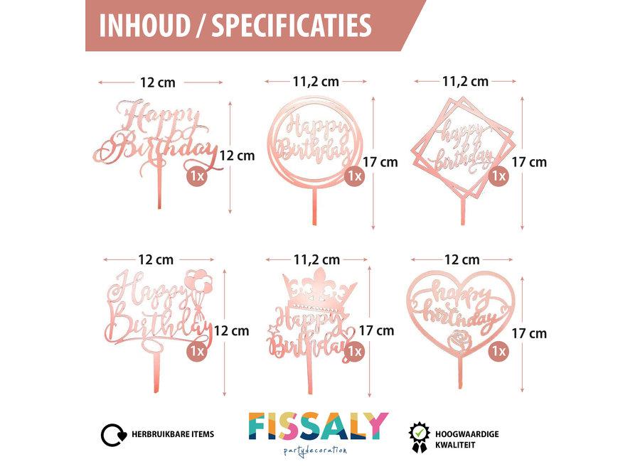 Fissaly® 6 Stuks Rosé Gouden Happy Birthday Taarttopper & Caketopper Set – Taartversiering