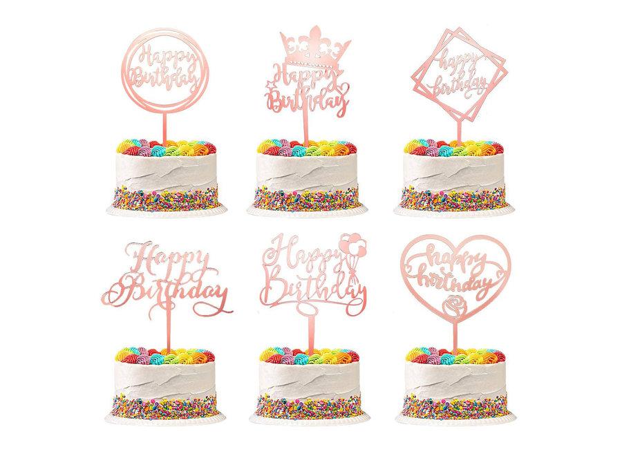 6 Stuks Rosé Gouden Happy Birthday Taarttopper & Caketopper Set – Taartversiering