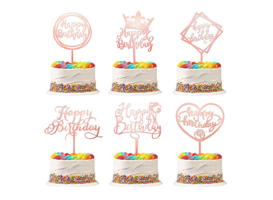Rosé Gouden Happy Birthday Taarttopper