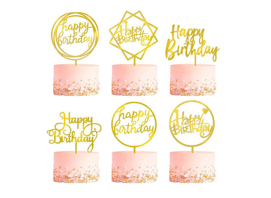 Gouden Happy Birthday Taarttopper