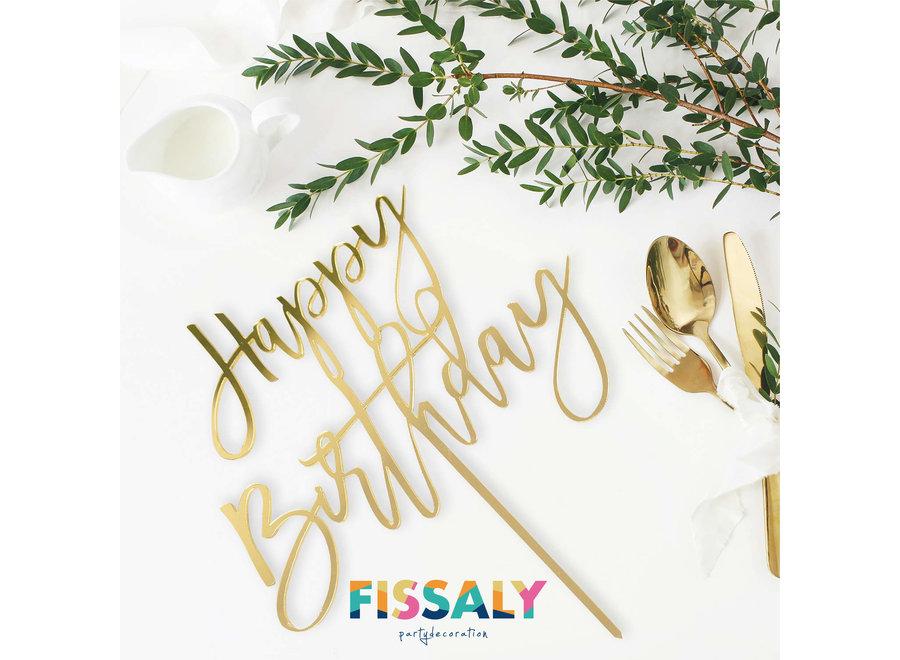 Fissaly® 6 Stuks Gouden Happy Birthday Taarttopper & Caketopper Set – Taartversiering