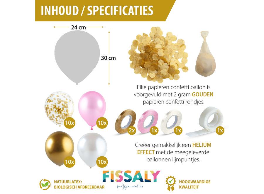 Fissaly® 40 Stuks Goud, Creme wit, Roze & Confetti Goud Latex Ballonnen met Accessoires