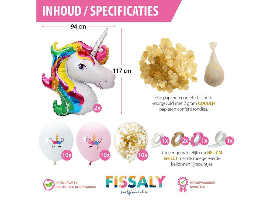 Fissaly® 34 stuks Eenhoorn Decoratie Helium Ballonnen met Lint