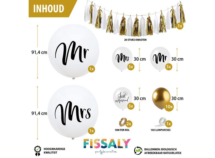 Fissaly® Mr & Mrs Just Married Bruiloft Decoratie Versiering Set – Huwelijk & Trouwen – Trouwfeest & Trouwdag