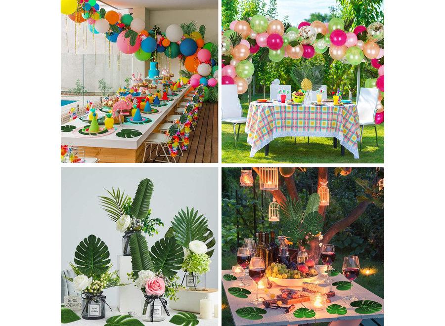 Fissaly® 70 Stuks Tropische Bladeren Decoratie met Lint – Kunst Blad – Verjaardag Jungle Versiering – Palm – Groen & Goud