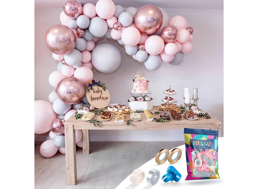 Pastel Ballonnenboog Macaron Roze, Grijs & Rose Goud – Ballonboog