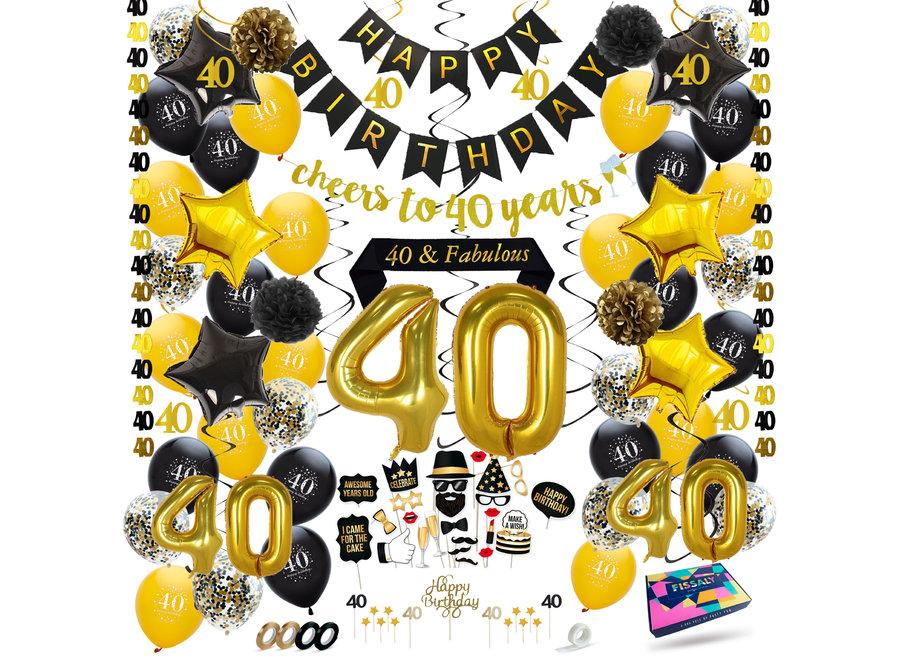 Fissaly® 40 Jaar Verjaardag Decoratie Versiering - Ballonnen - Zwart en Goud
