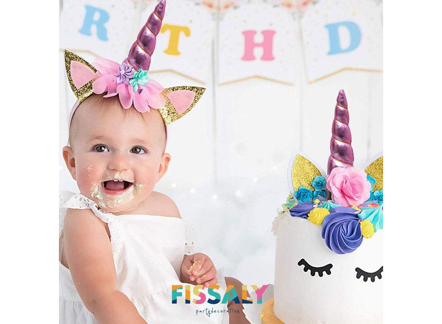 Fissaly® 53 Stuks Roze Eenhoorn Verjaardag Decoratie Versiering - Unicorn