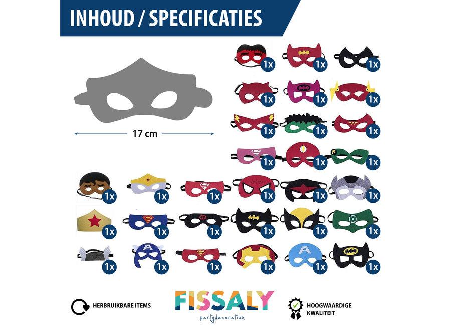 Fissaly® 31 Stuks Superhelden Maskers voor Kinderfeest & Verkleed Partijen