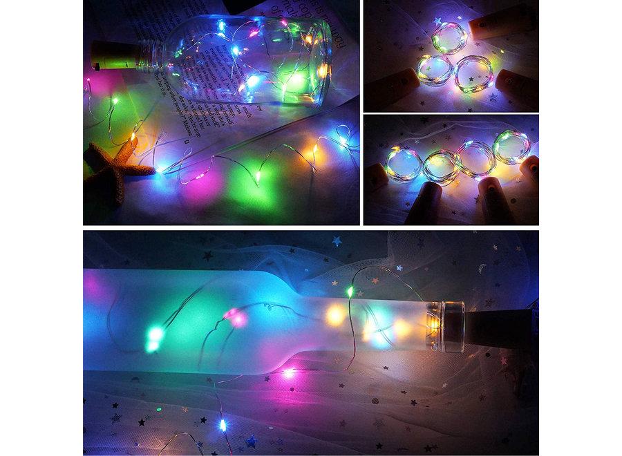 Fissaly® 10 Stuks Gekleurde Led Kurk Flesverlichting Decoratie incl. Batterijen