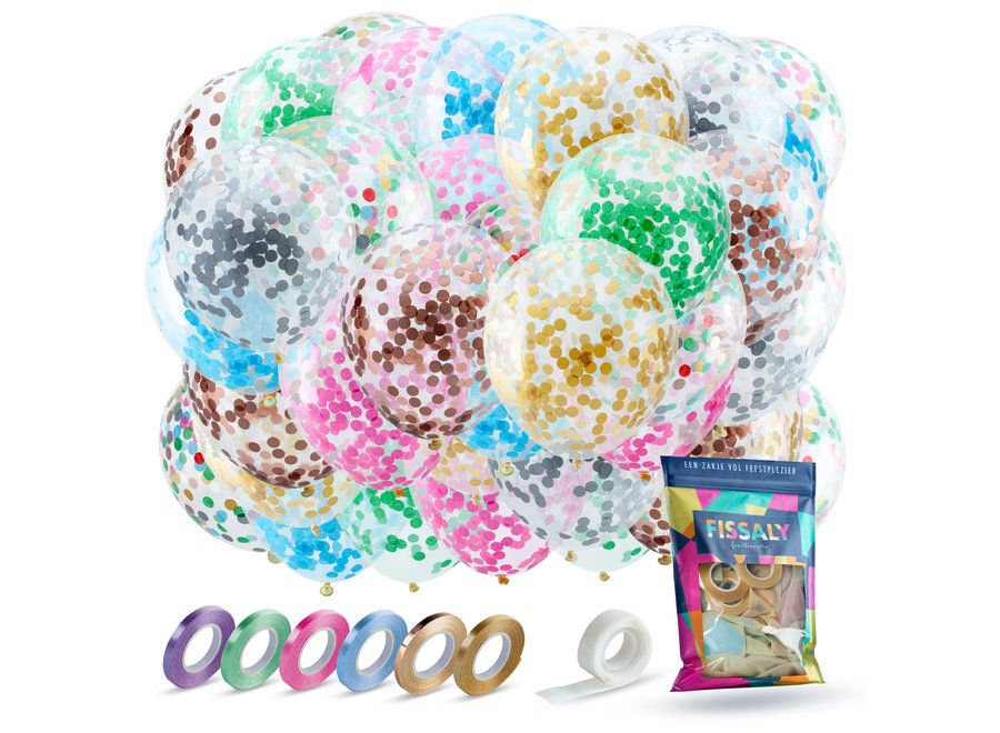 40 stuks Gekleurde Confetti Helium Ballonnen met Lint