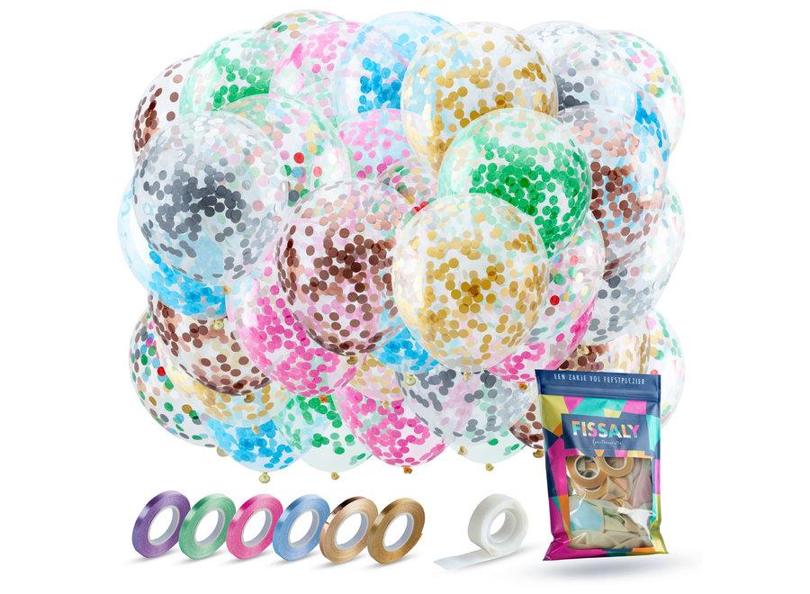 Fissaly® 40 stuks Gekleurde Confetti Helium Ballonnen met Lint