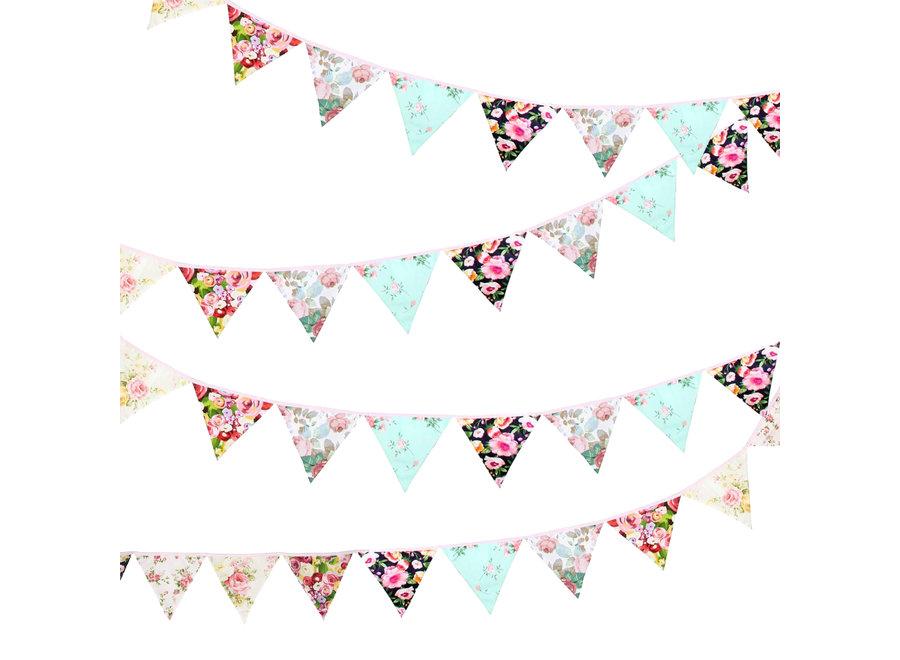 Fissaly® Verjaardag Stoffen Bloemen Vlaggetjes Slinger – Decoratie – Happy Birthday