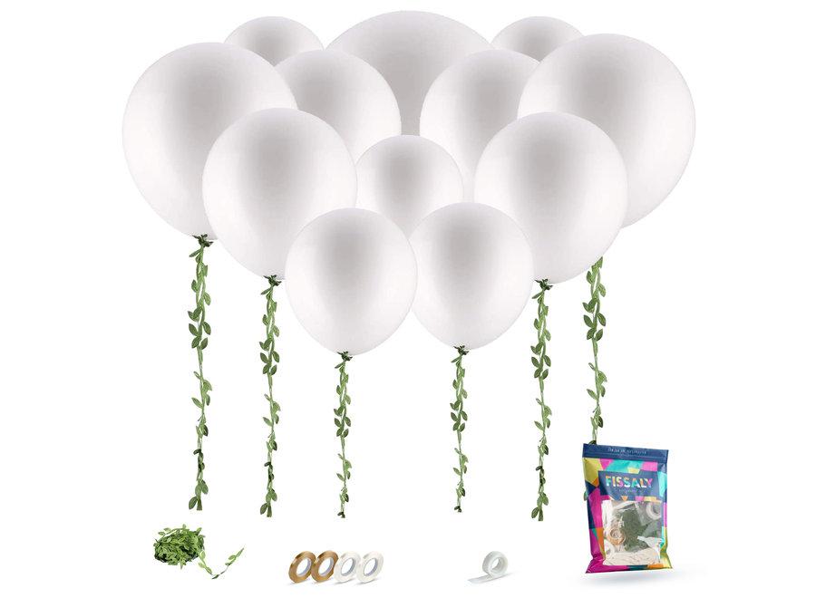 Witte Ballonnen & Kunstbladeren Slinger Lint - Feest Versiering - Decoratie