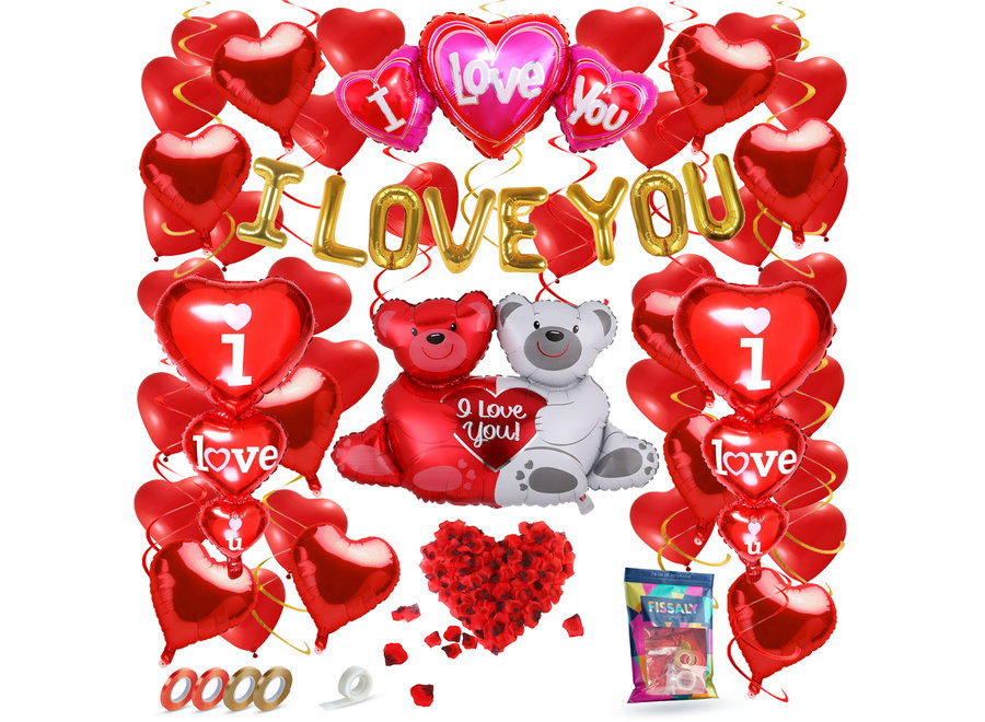 70 Stuks I Love You Liefde & Hartjes Decoratie Set Helium – Versiering Cadeautje - Valentijnsdag Man & Vouw - Valentijn Hem & Haar