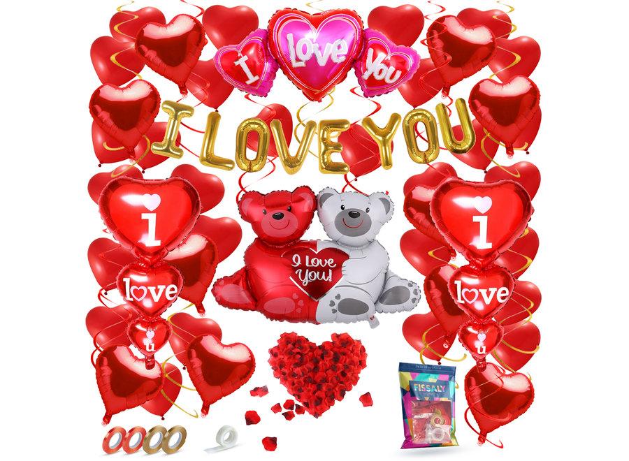 Fissaly® 70 Stuks I Love You Liefde & Hartjes Decoratie Set Helium – Versiering Cadeautje - Valentijnsdag Man & Vouw - Valentijn Hem & Haar