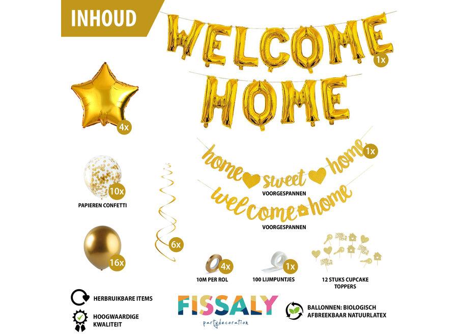 Fissaly® Welkom Thuis Gouden Versiering – Welcome Home Decoratie