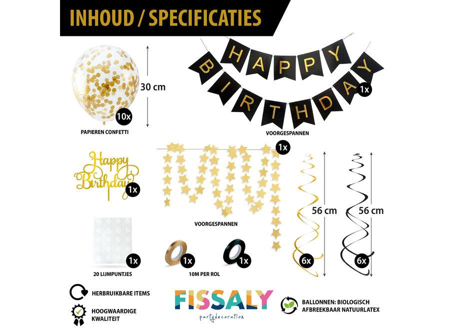 Verjaardag Slinger Zwart & Goud met Confetti Ballonnen