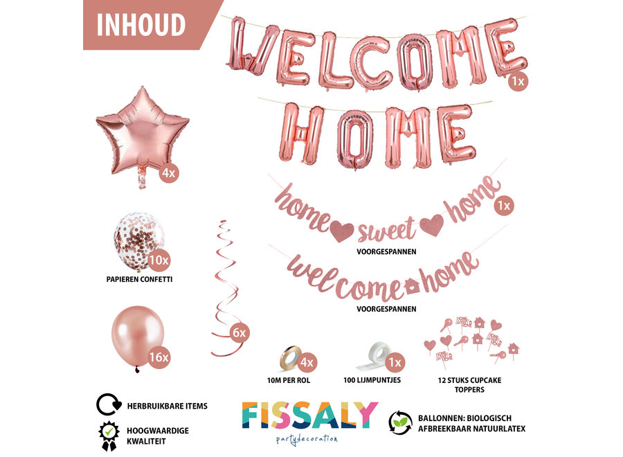 Fissaly® Welkom Thuis Rose Goud Versiering – Welcome Home Decoratie - Suprise Party