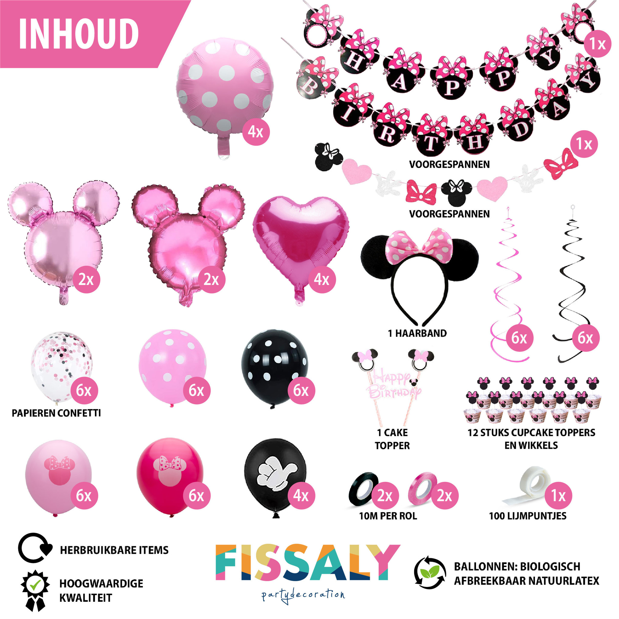 Fissaly Minnie Mouse Thema Decoratie Fissaly