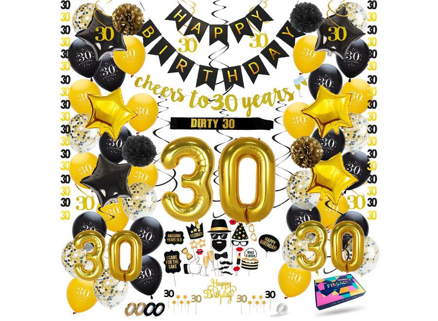 Fissaly® 30 Jaar Verjaardag Decoratie Versiering - Ballonnen – Jubileum Man & Vrouw - Zwart en Goud