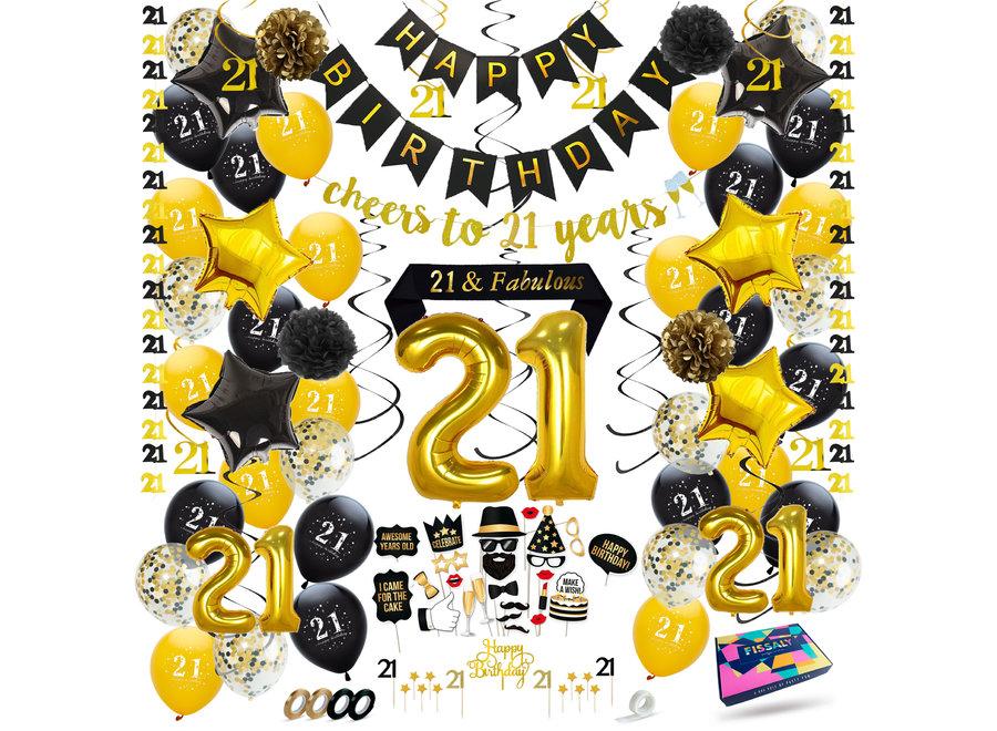 Fissaly® 21 Jaar Zwart & Goud Verjaardag Decoratie Versiering - Helium, Latex & Papieren Confetti Ballonnen