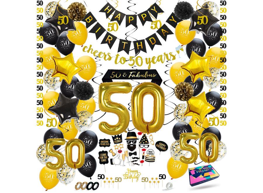 Fissaly® 50 Jaar Sarah & Abraham Verjaardag Decoratie Versiering – Ballonnen – Jubileum Man & Vrouw - Zwart en Goud