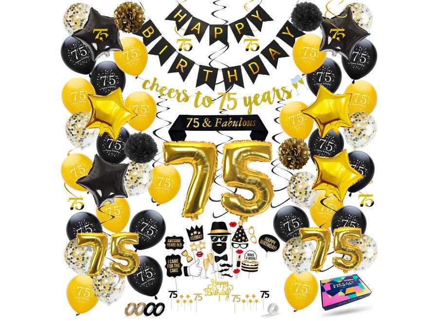 Fissaly® 75 Jaar Verjaardag Decoratie Versiering - Ballonnen – Helium, Latex & Papieren Confetti Ballonnen- Zwart en Goud