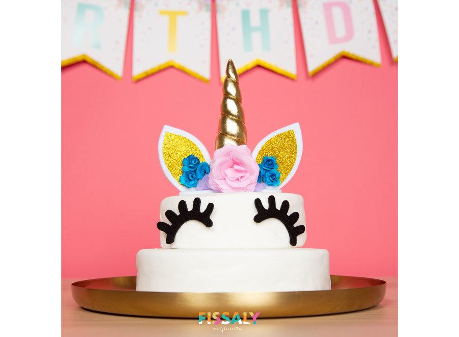 Fissaly® 53 Stuks Gouden Eenhoorn Verjaardag Decoratie Versiering  - Unicorn
