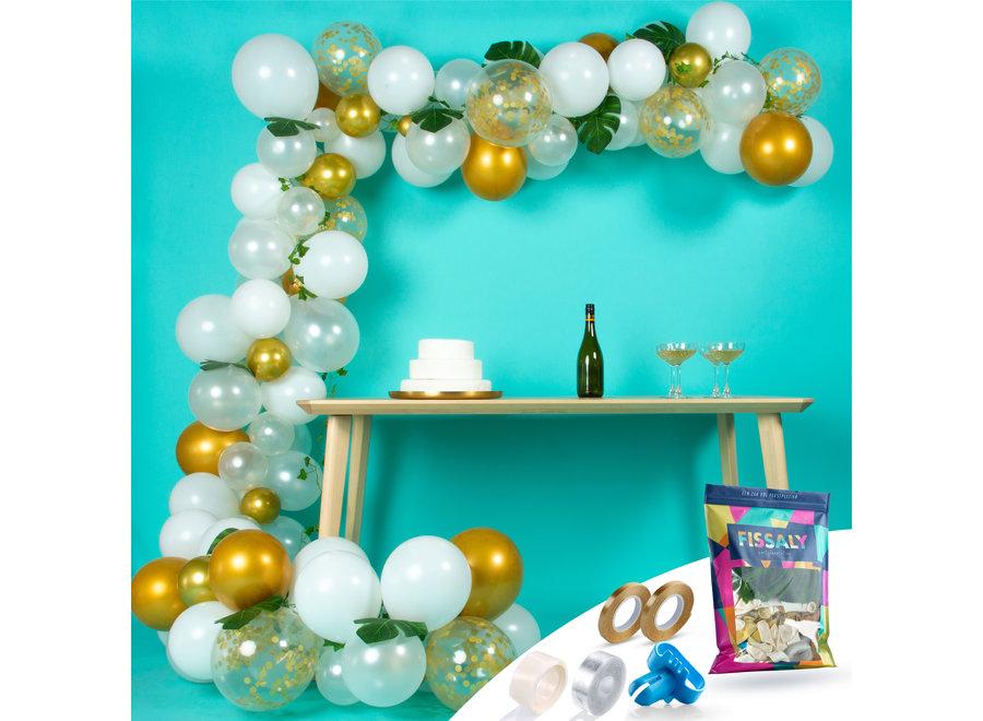 Ballonnenboog Wit, Goud & Groen