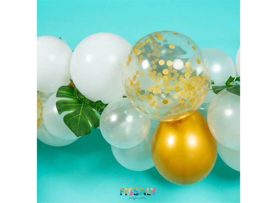 Fissaly® Ballonnenboog Wit, Goud & Groen – Ballonboog