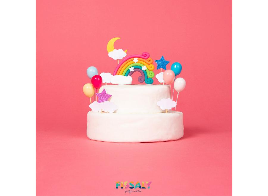 13 Stuks Regenboog Happy Birthday Taarttopper & Caketopper Set