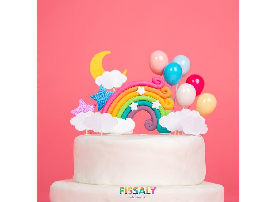 Fissaly® 13 Stuks Regenboog Happy Birthday Taarttopper & Caketopper Set